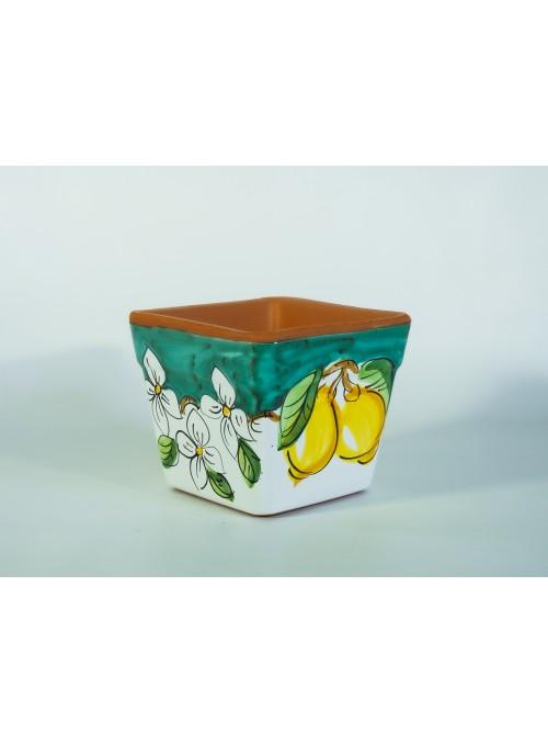 Cassetta portafiori quadrata in ceramica - Limoni