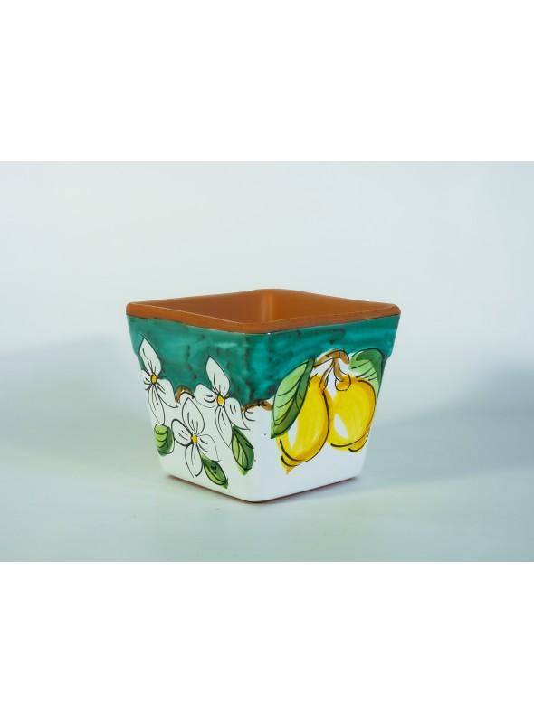 Squared ceramic flower vase - Limoni