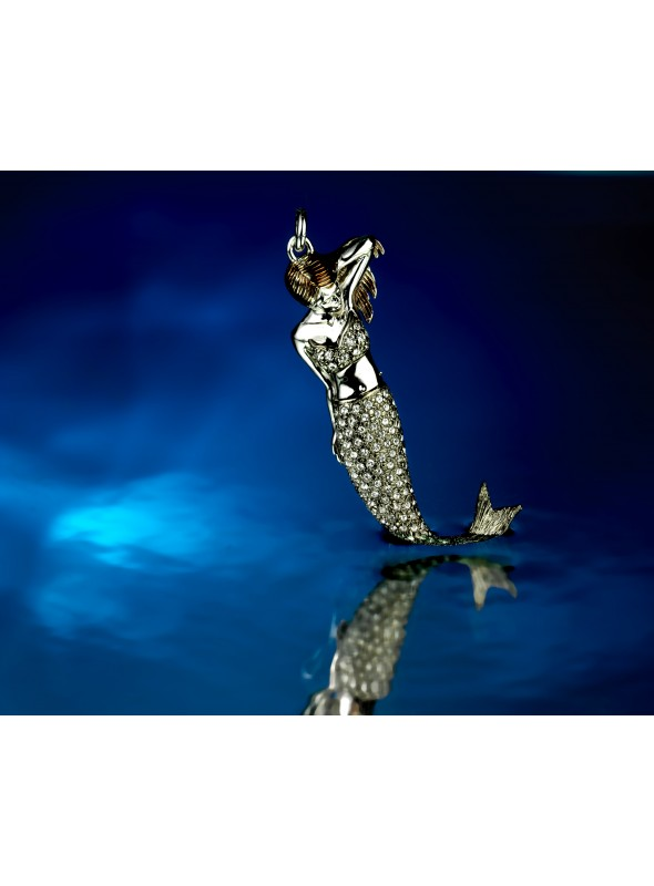 Handcrafted bronze mermaid pendant with swarovsky - Sirena