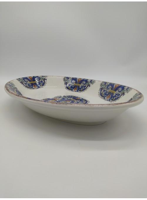 Vassoio ovale in ceramica decorato