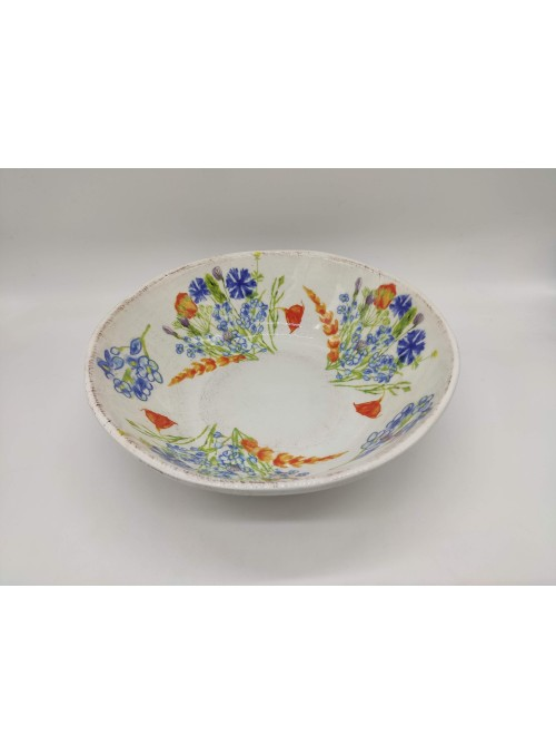 Antiqued ceramic salad bowl