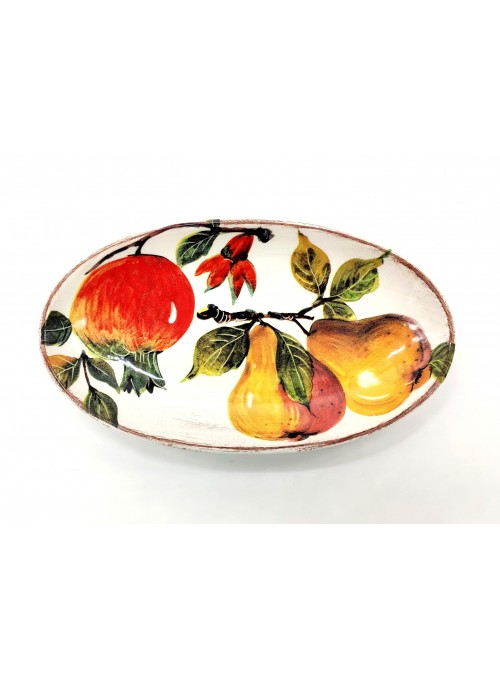 Oval tray in decorated ceramic