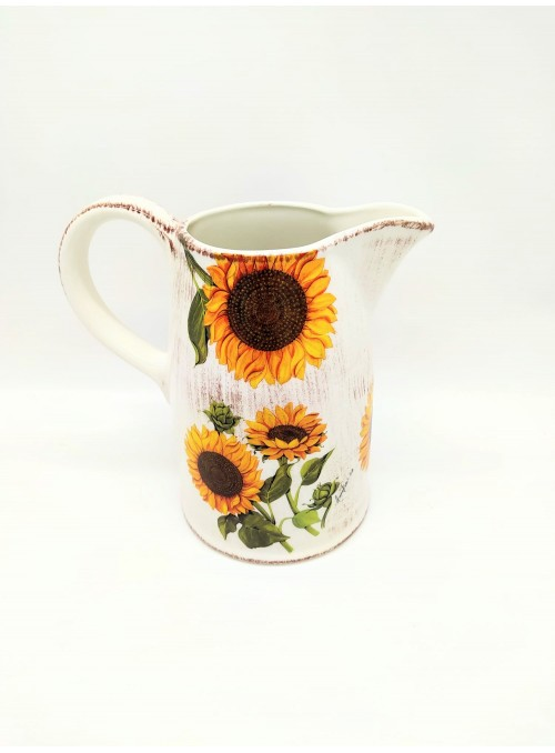 Ceramic pitcher with sunflowrs