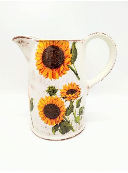 Brocca in ceramica con girasoli