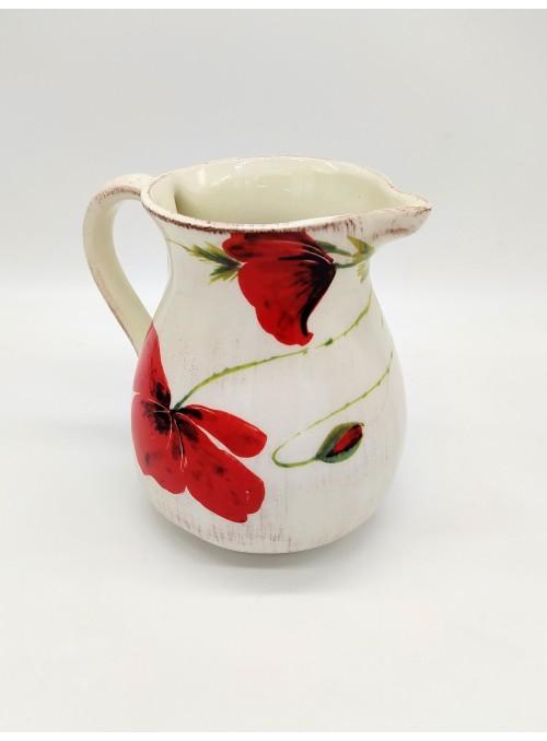 Ceramic pitcher with poppies