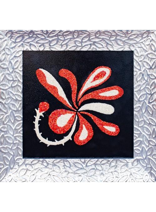 Pannello in legno, corallo e roccia - Orchidea