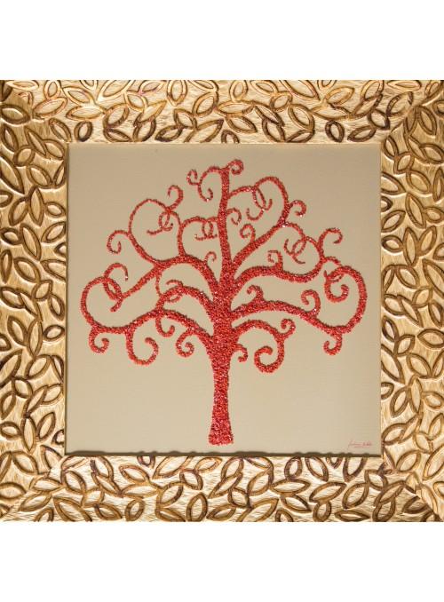 Pannello in legno, oro e corallo - Albero della vita