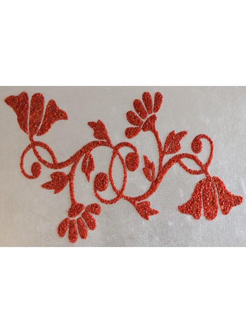 Pannello in legno, corallo e argento - Fiori di Sicilia