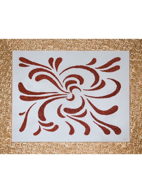 Wooden panel with coral and gold - Onde