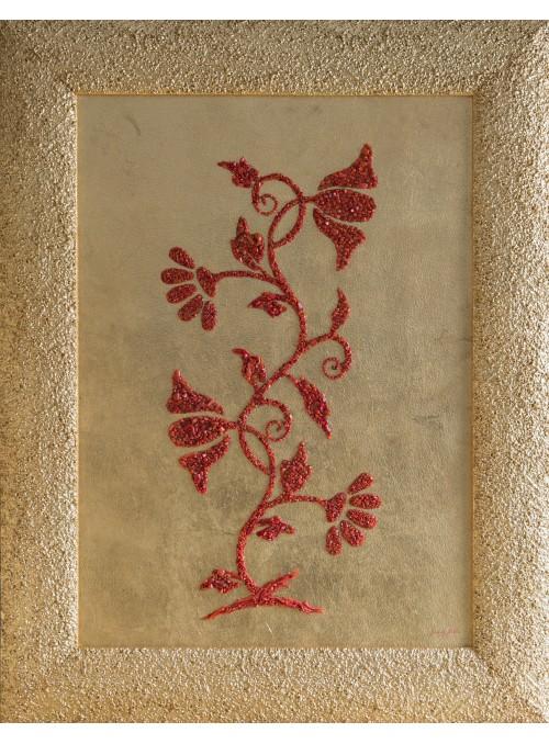 Pannello in legno, corallo e oro - Fiori di Sicilia