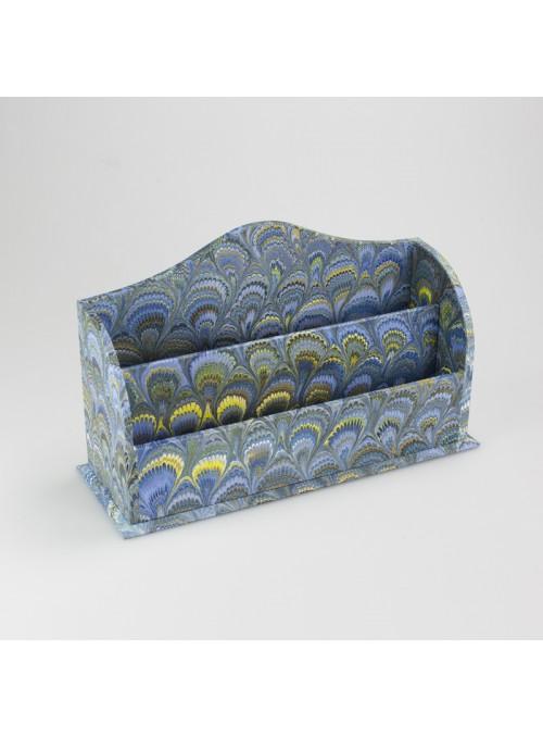 Porta corrispondenza in legno e carta marmorizzata